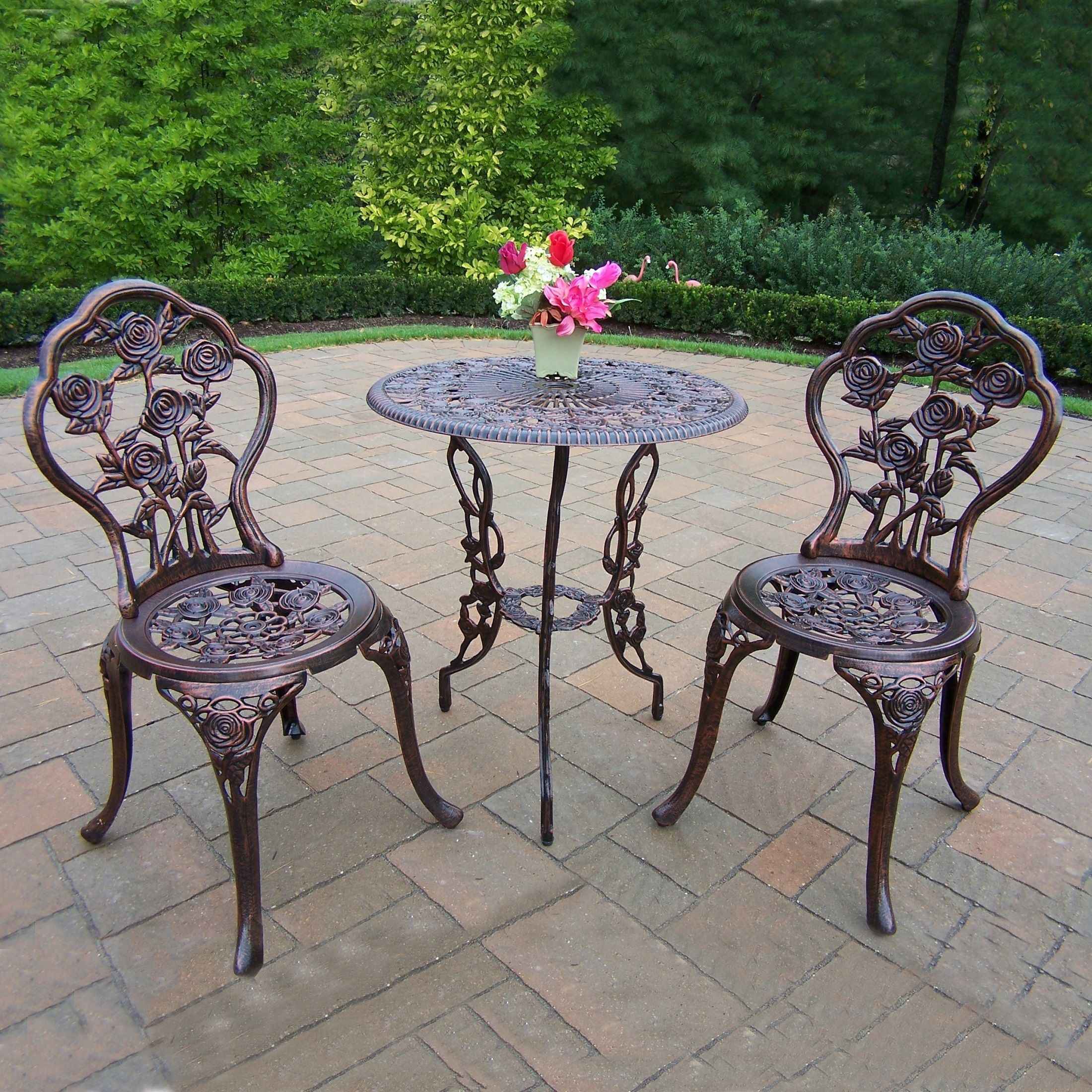 Camellia cast aluminum 3piece bistro set with table and 2