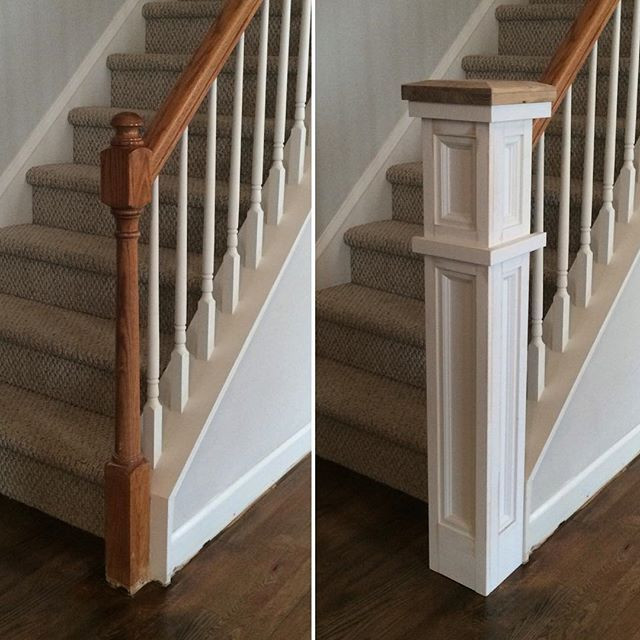 It Was Installed Around The Existing Post I Built The Front And   Handrail To Newel Post   Craftsman Style   Indoor Railing   Wood   Gray Stain   White Oak