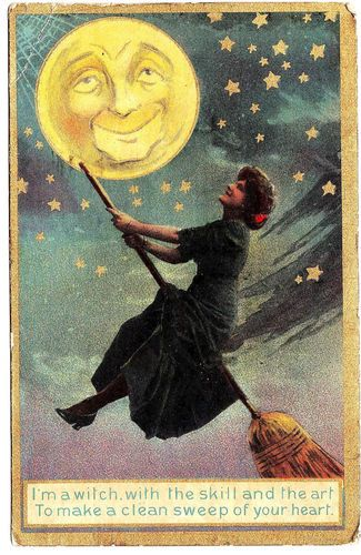 Witch On Broom Flying Toward The Moon Halloween Postcard