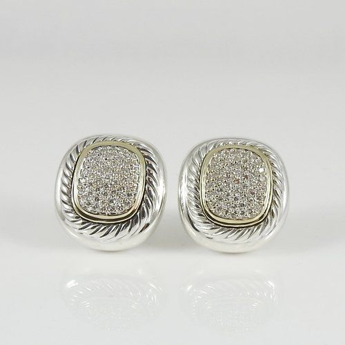 David Yurman Sterling Silver 18k Yellow Gold Medium Pave Diamond Albion Earrings