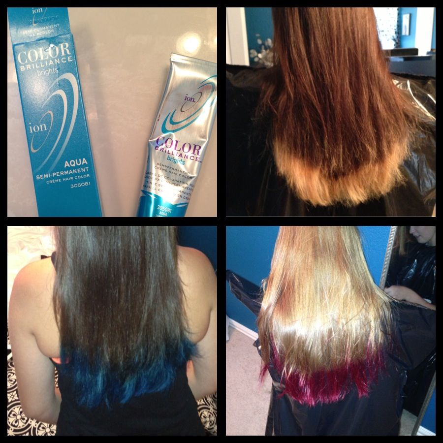 Dip dyed my daughterus brown hair with turquoise first bleaching