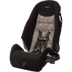 Cosco - High Back Booster Car Seat, Canteen:  Forward-facing car seat for children 22-40 lbs  Belt-positioning booster for children 40-80 lbs, $39  17.0 x 17.0 x 26.0