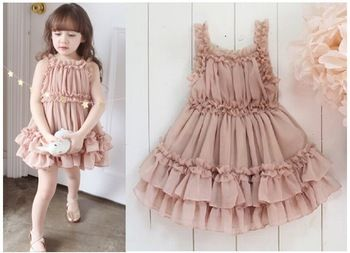 Retail 2-6Y Chiffon Ruffles Summer Girls Cake Shoulder-straps Dress Baby Clothing Free Shipping