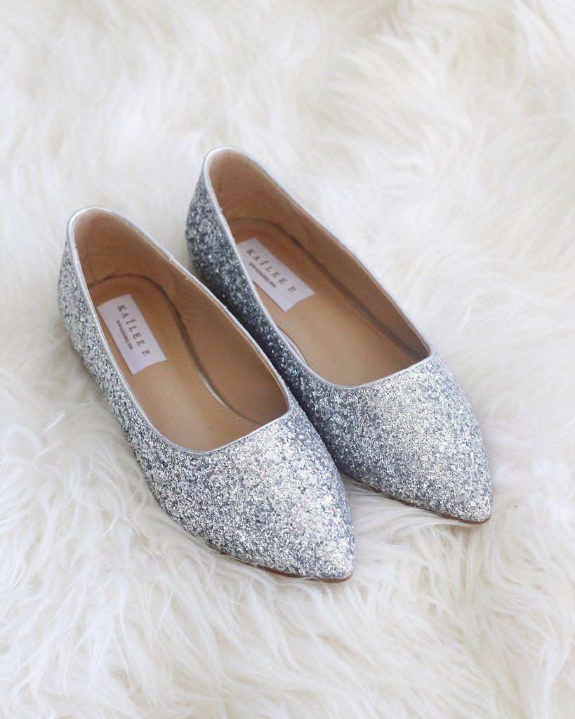 SILVER Pointy Toe Rock Glitter Flats in