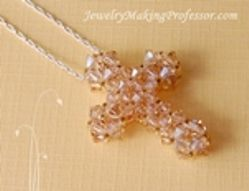 Bead Weaving How To Tutorial:  Crystal Cross Necklace
