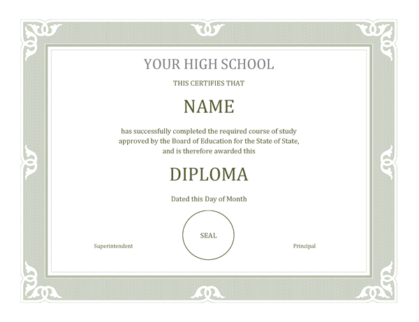 honor your students for completing their high school curriculum with this fancy high school diploma this is an accessible template