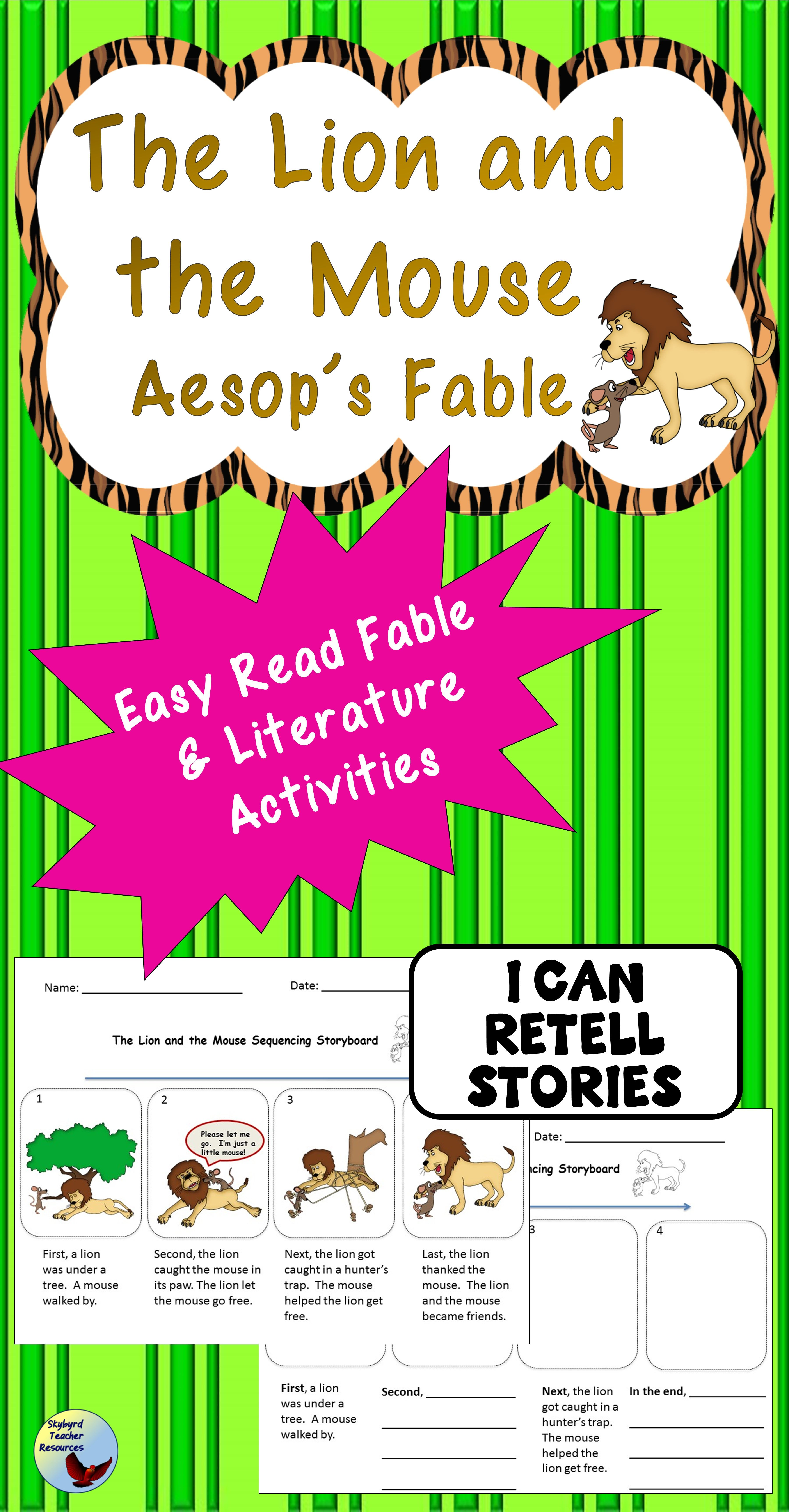 The Lion And The Mouse Aesop S Fables Sequencing And Literature Activities Lion And The Mouse Literature Activities English Writing Exercises [ 6900 x 3600 Pixel ]