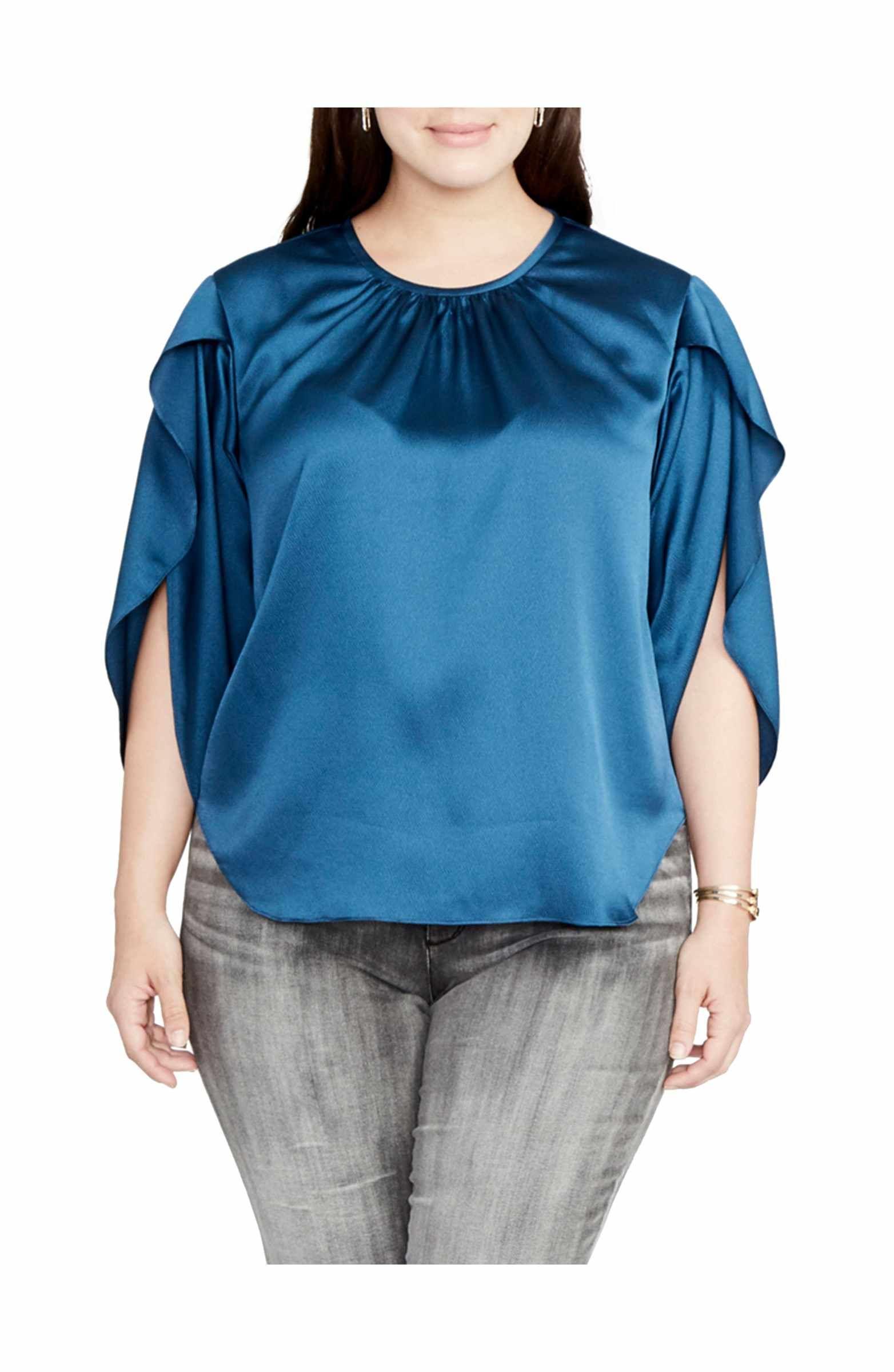 edb42619f24a9 RACHEL Rachel Roy Julia Satin Split Flutter Sleeve Top (Plus Size)  95