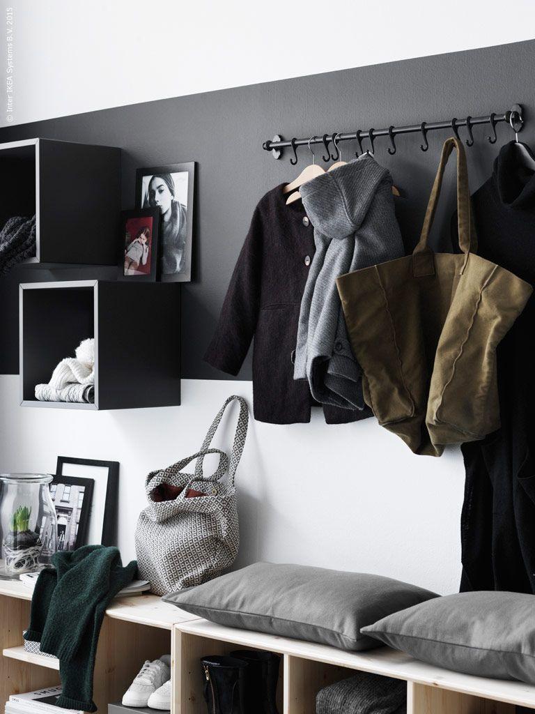 Hallway storage rack  Pin by Christina Hilbich on wohnen  Pinterest  Hall Coat hooks