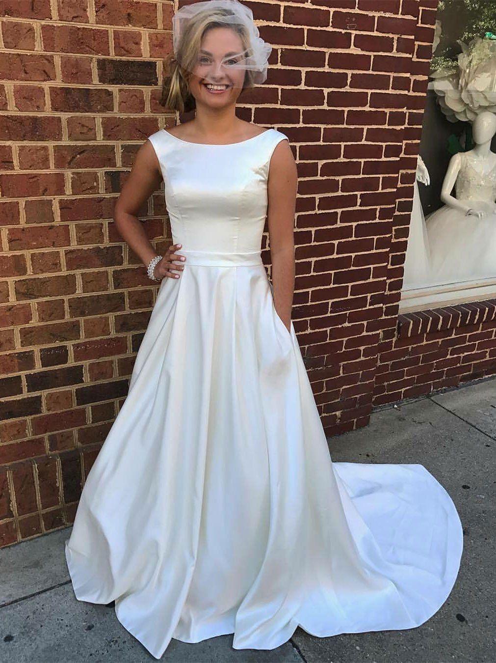 Silhouette wedding dresses simple bridal  Aline Ivory Satin Bateau neck Chapel Train Simple Wedding Dresses
