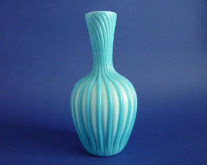 Thomas Webb Cased And Ribbed Turquoise Satin Glass Vase C1880