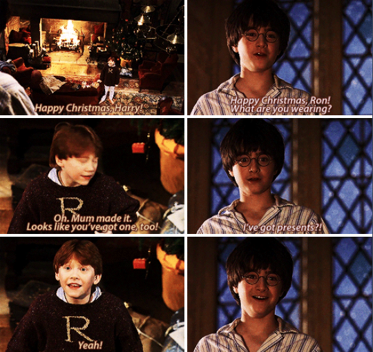 For the first time in his eleven years, Harry James Potter got to open proper presents at Christmas, all because Ron Weasley wrote home and told his own parents that Harry wasn't expecting anything.  What the Weasleys lacked in galleons, they more than made up for in heart. #actually trying not to cry