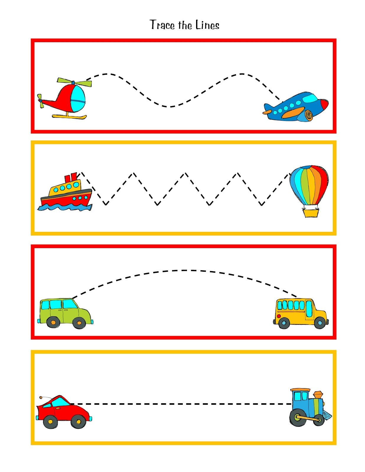 Great to practice pre writing skills during transportation for Transportation crafts for preschoolers