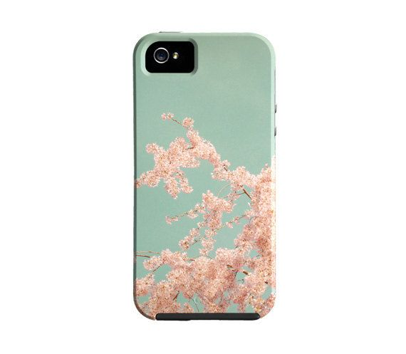 20% off- iPhone 5 case, pink and blue, floral iPhone 4 case, flower iphone case, cherry blossom, cover,  pretty iPhone cover, gift, girly,. $32.00, via Etsy.