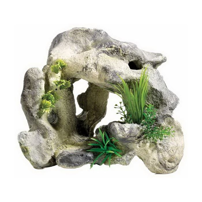 Rocky Cave Garden Aquarium Ornament Classic Brand (With
