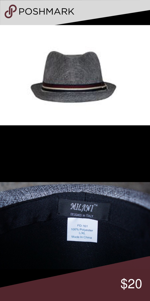 c962720da2144 NWT Men s Milani 100% Polyester Gray Fedora Hat Men s Milani FD-161 Italy  100% Polyester Gray Fedora Hat - Size L XL Great for gifts.