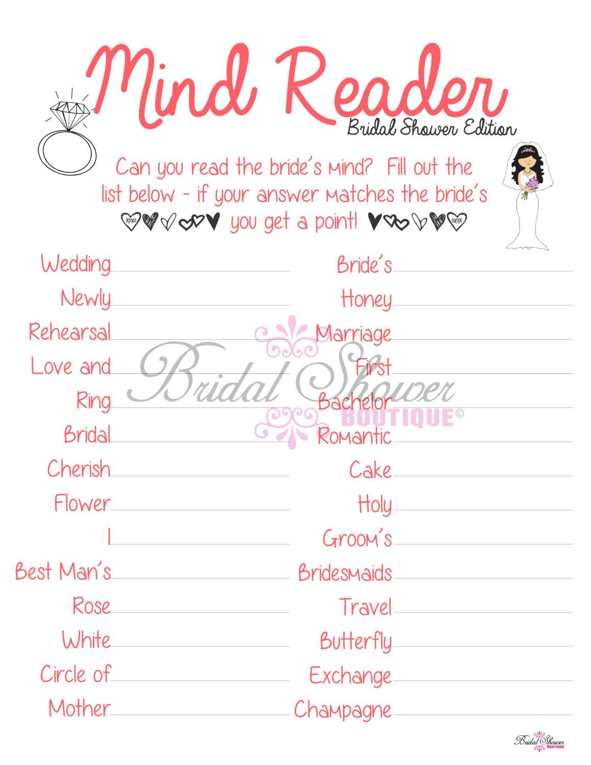 mind reader what is the bride thinking bridal shower game coral fun