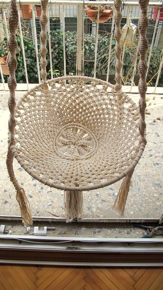 Macramé Swing Chair, Terrace Hammock, Outdoor Chair, Bedroom Swing
