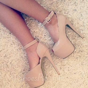 Concise Ankle Strap Nude Peep-toe Heels | Peep toe heels, Ankle ...