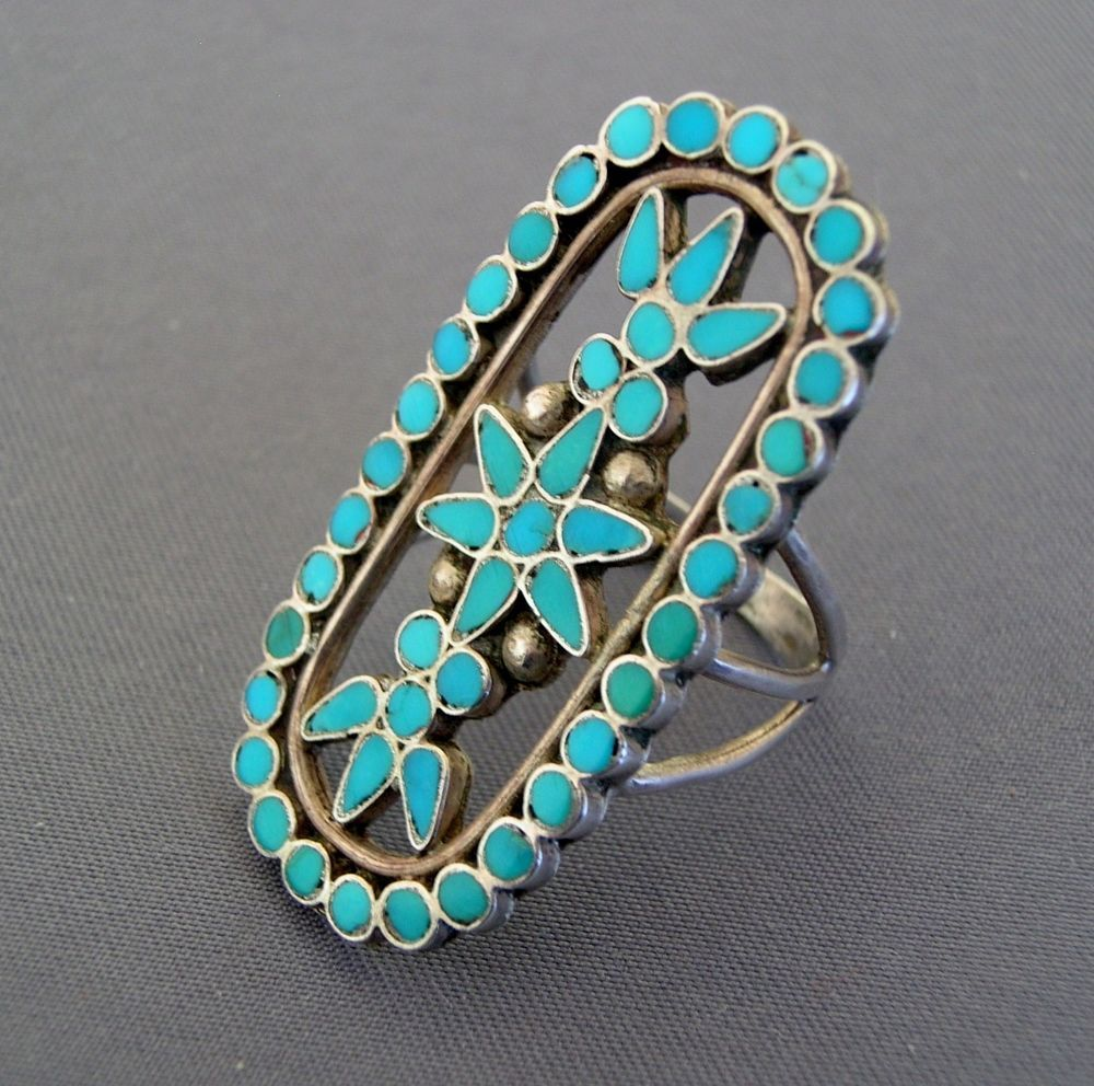 Vintage Zuni Dishta Family Flush Inlay Sterling Silver Turquoise Ring Sterling Silver Rings Turquoise Turquoise Sterling Silver Turquoise