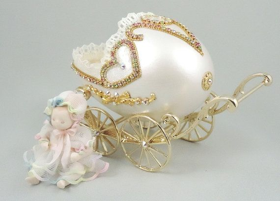 Baby Shower Gifts Keepsakes ~ ☼ø baby carriage w miniature baby mini baby carriage baby shower