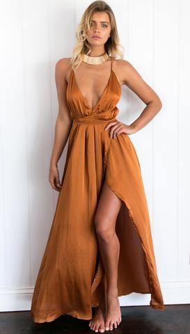 Get Closer Dress Burnt Orange