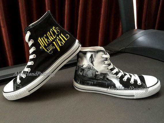 custom black converse