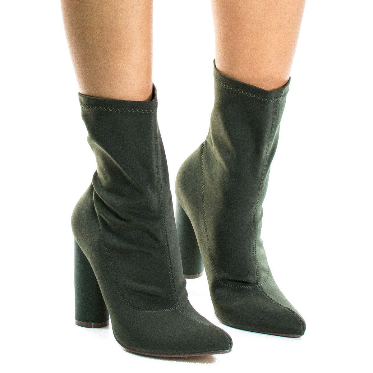 Heels for dark green dress  Elssa Khaki Green By XB Pointed Toe Ankle booties W Stretchy