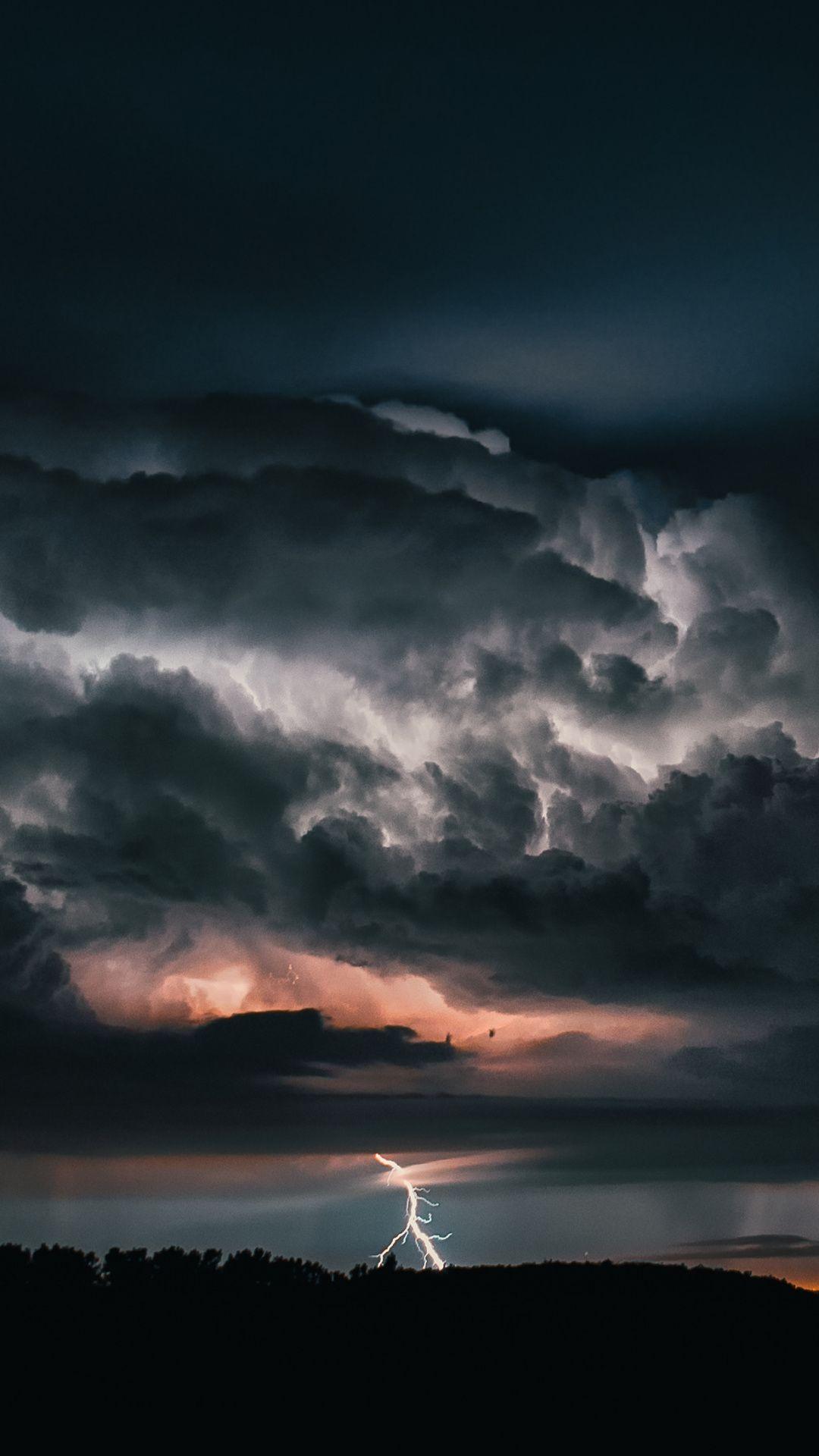 Lightning, thunderstorm, cloudy, sky, 1080x1920 wallpaper