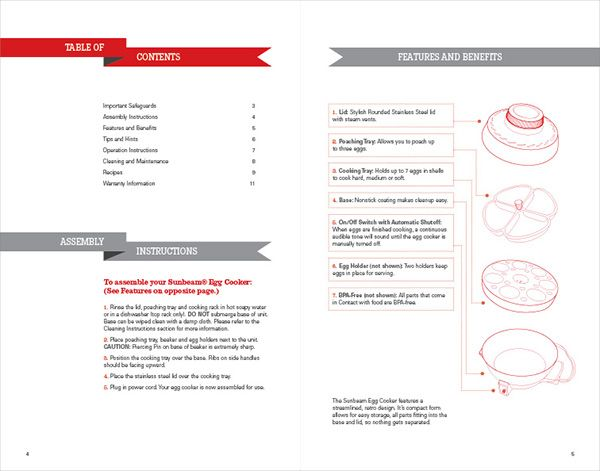 Instruction manual design for Sunbeam Egg Cooker Includes - instruction manual