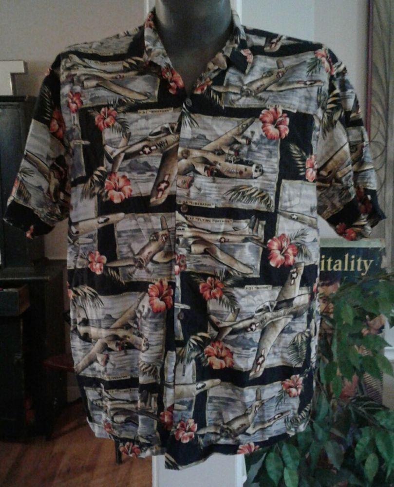 MENS KALAHEO MILITARY WAR PLANES ALOHA HAWAIIAN COCKTAIL LOUNGE SHIRT XL  | eBay