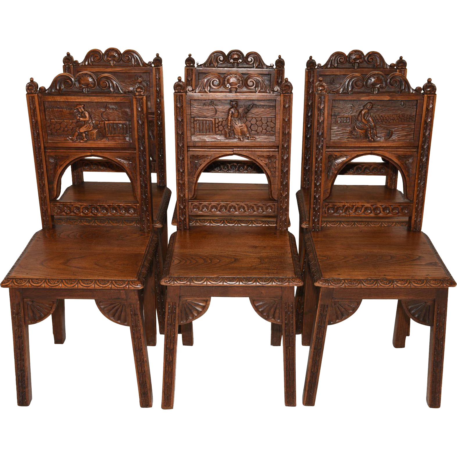 Terrific set of six vintage french breton dining chairs oak us