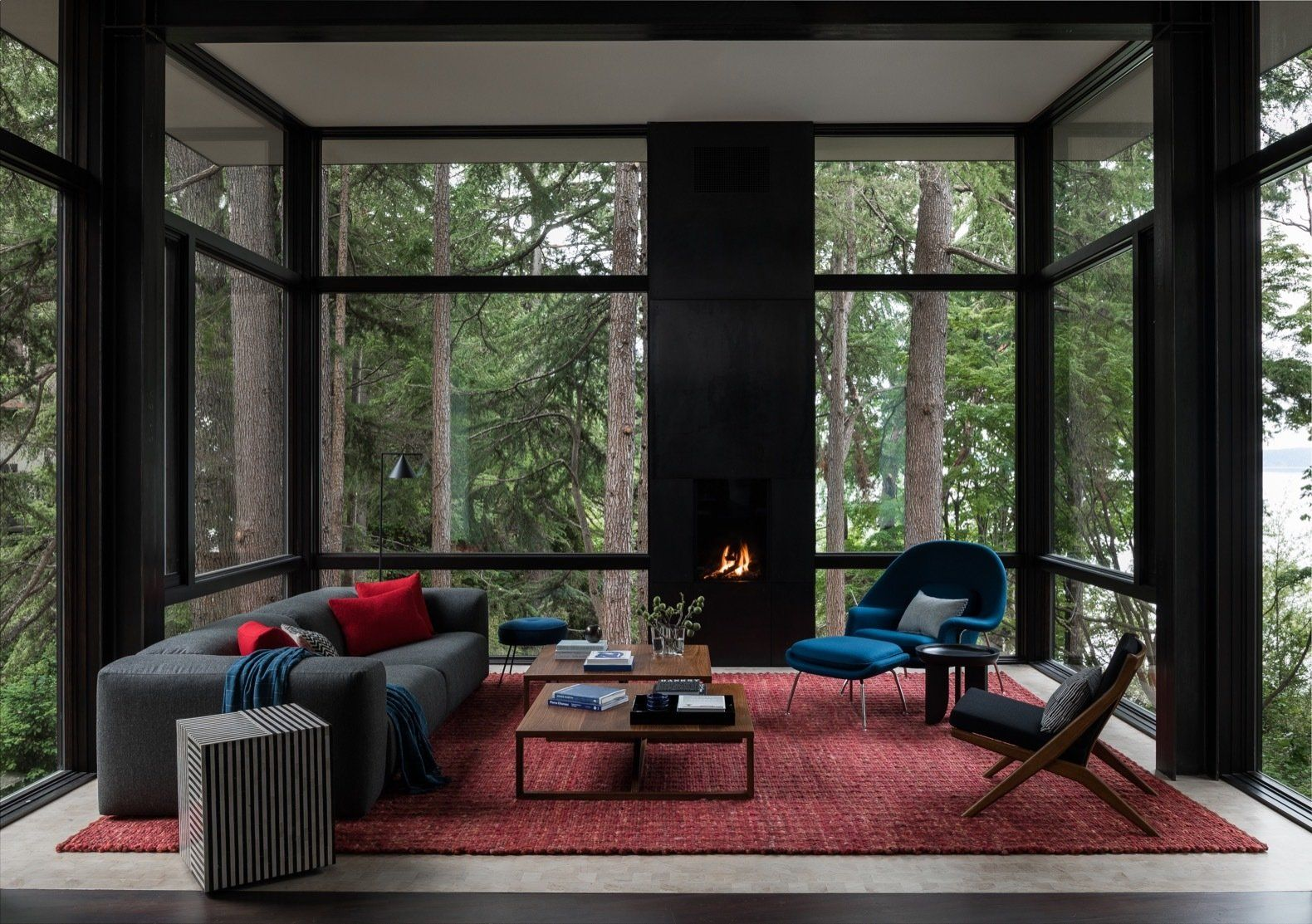 Tree House By Deforest Architects Modern Tree House Knoll Womb Chair Tree House Living room colorful canopy