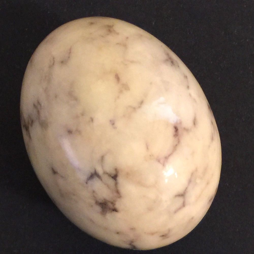 Vintage Alabaster Marble Granite Egg White Black Veins Made Italy