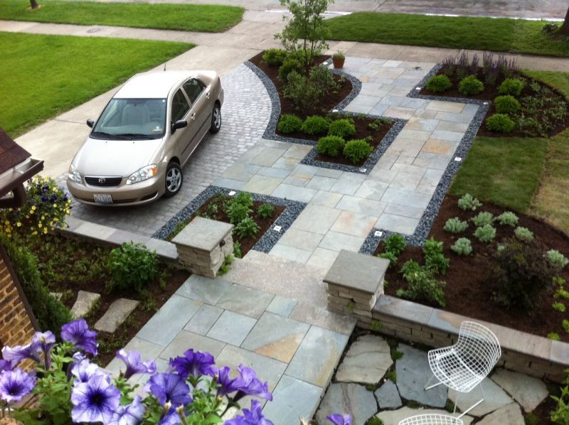 This Yard Goes From Ho Hum To Stunning A Parking Space Natural Cutstone Walls And Bluestone Front Garden Ideas Driveway Front Yard Patio Front Garden Design