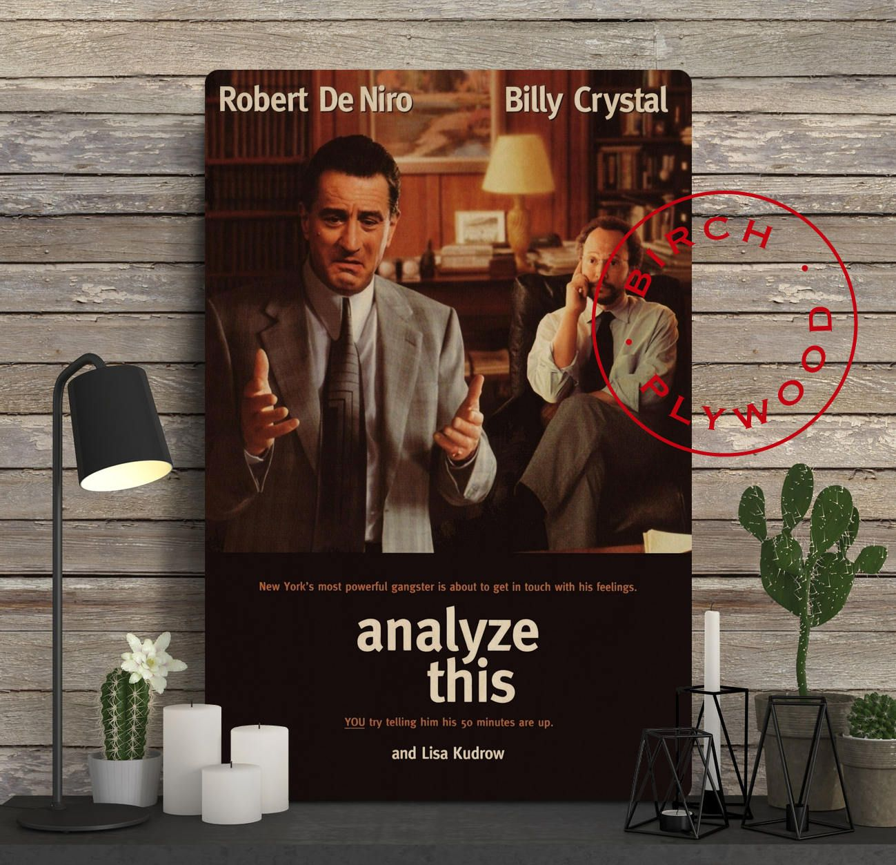 Analyze This Poster On Wood Robert De Niro Billy Crystal Lisa