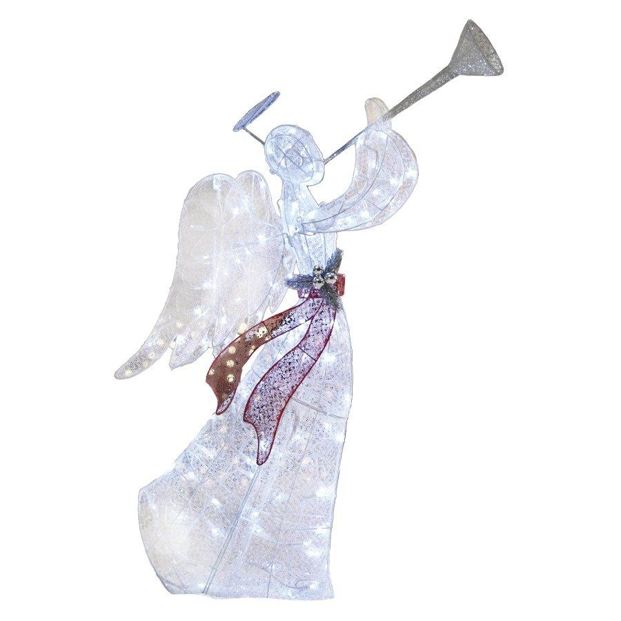 Holiday Living 48 In Ling Glittered Angel Outdoor Christmas Decoration Lowe S Canada