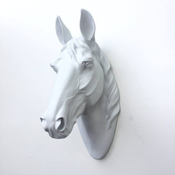 Any Color Or White Horse Head Wall Mount Faux Taxidermy Sculpture