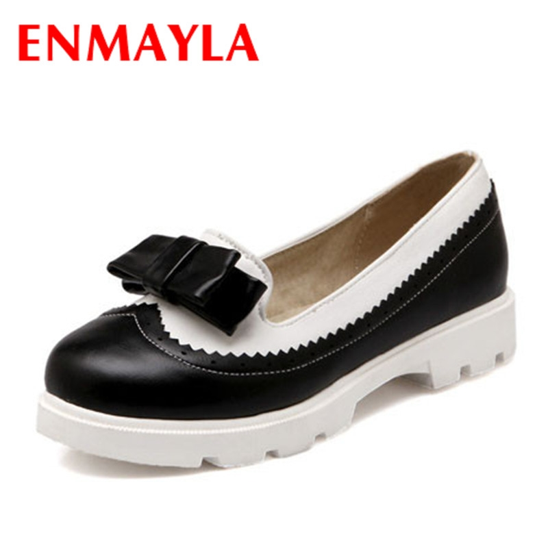 51.99$  Buy now - http://alitj1.worldwells.pw/go.php?t=32367680983 - ENMAYLA Size 34-43 Women Bow Flat Fashion Sweet Round Toe Shallow Mouth Comfortable insole Casual Shoes Women Flats Mixed colors