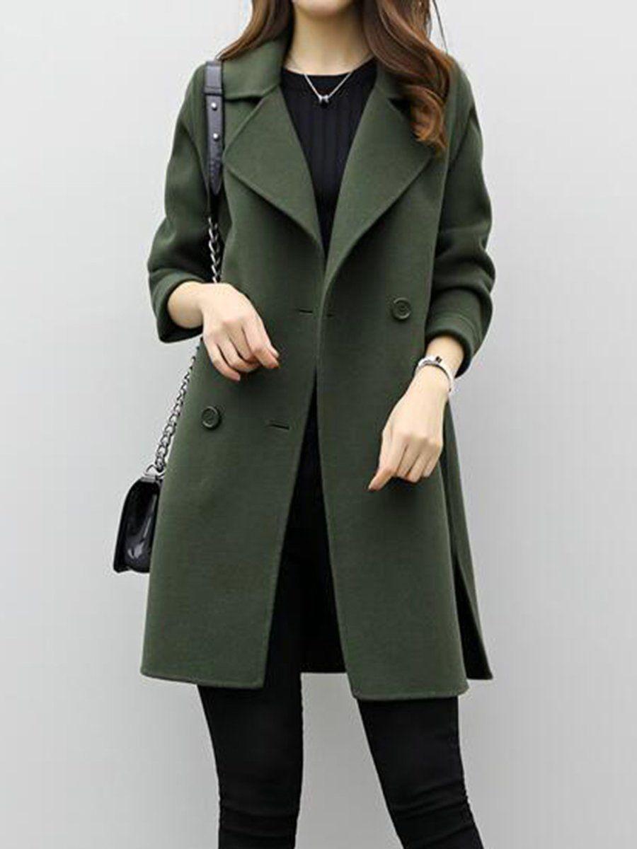 Long sleeve solid hline pea coat beauté et santé pinterest