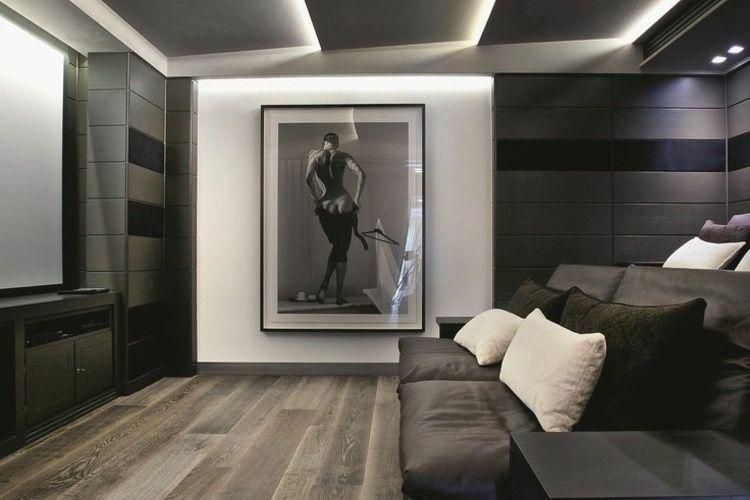 éclairage indirect led plafond suspendu salon moderne