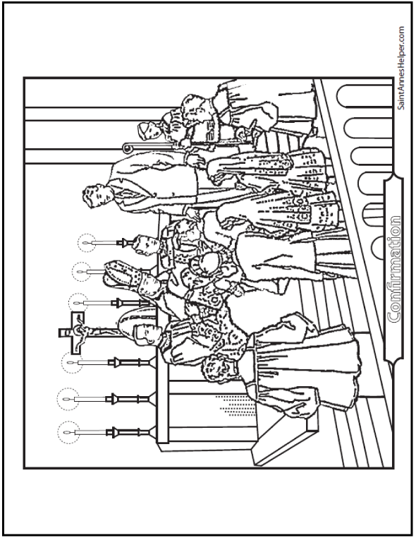 Confirmation Coloring Page: Bishop, Sponsors, Confirmandi
