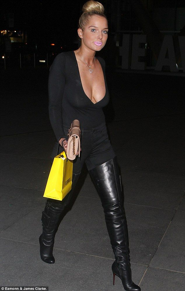 Helen Flanagan Flaunts Low Cut Top And Thigh High Boots In