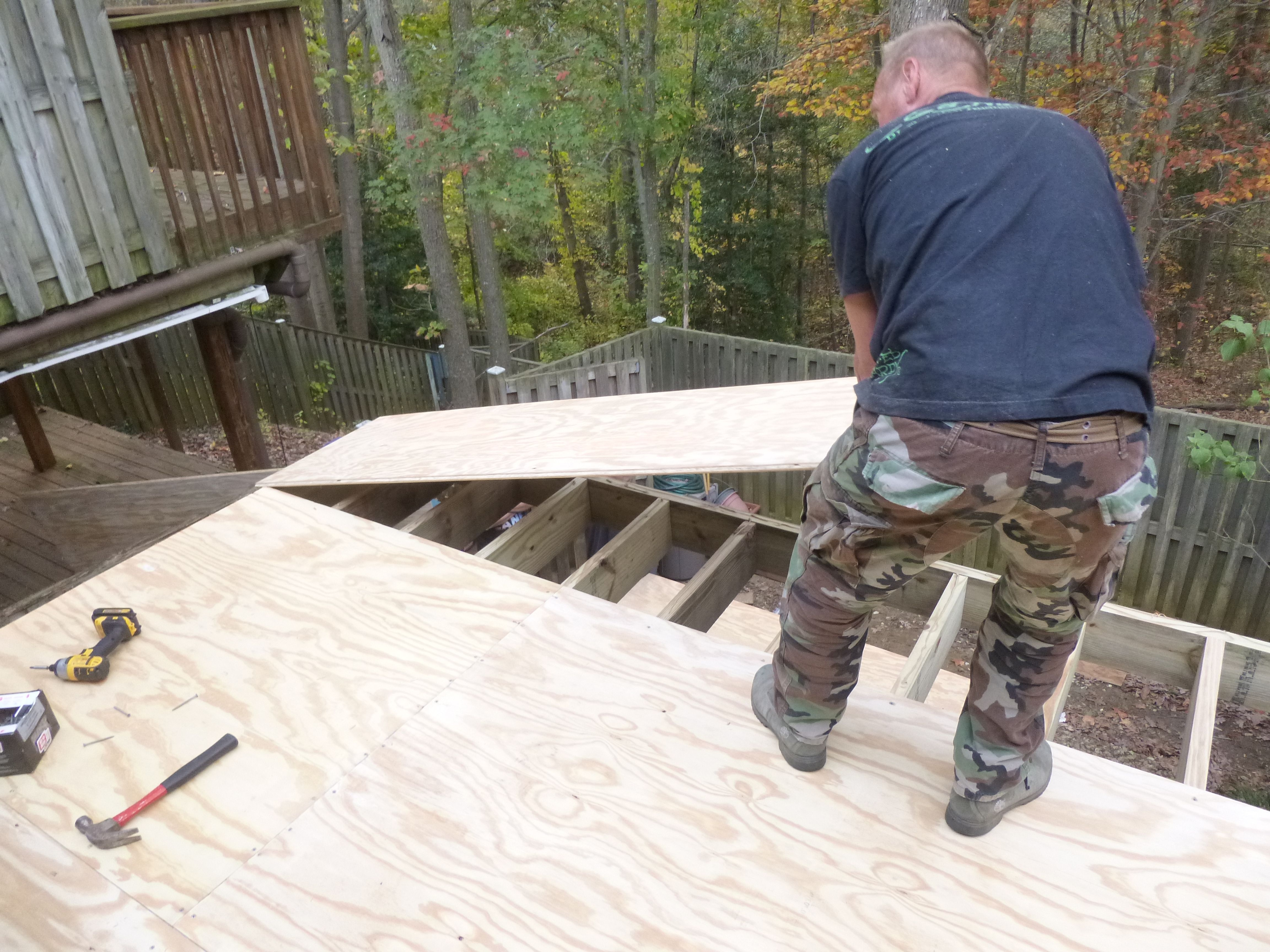 """3/4"""" plywood is glued and screwed to joists tapered to 1/4"""