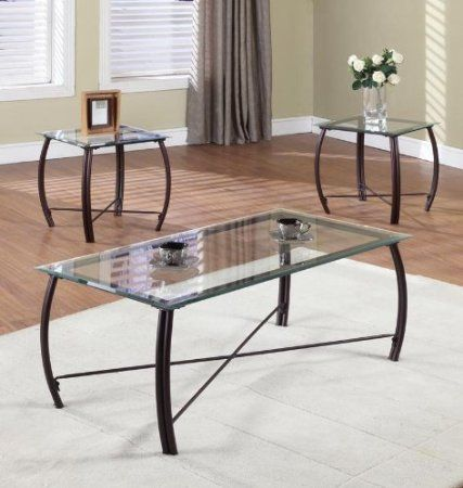 Amazon.com: 3 Pc. Beveled Glass And Copper Bronze Metal Frame Coffee Table & 2 End Tables Occasional Table Set: Furniture & Decor
