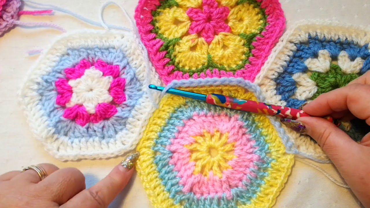 Joining hexagons with single crochet   Crochet tutorial ...