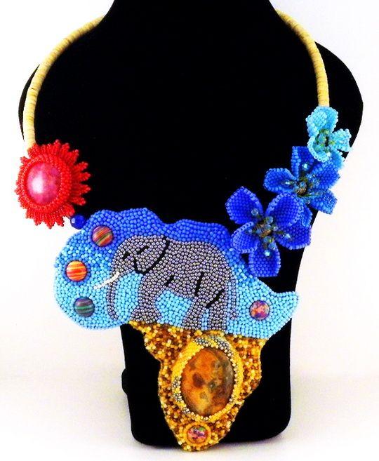 Unique embroidered jewelry by Evgenia Vasilieva