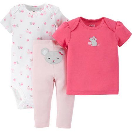Child of Mine by Carter's Newborn Baby Girls' T Shirt, Bodysuit and Pant Outfit Set 3 Pieces - Walmart.com