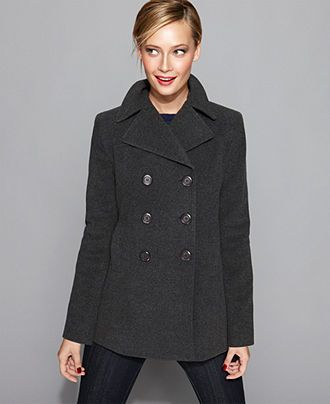 Kenneth Cole Reaction Coat, Wool-Blend Classic Pea Coat - Womens ...