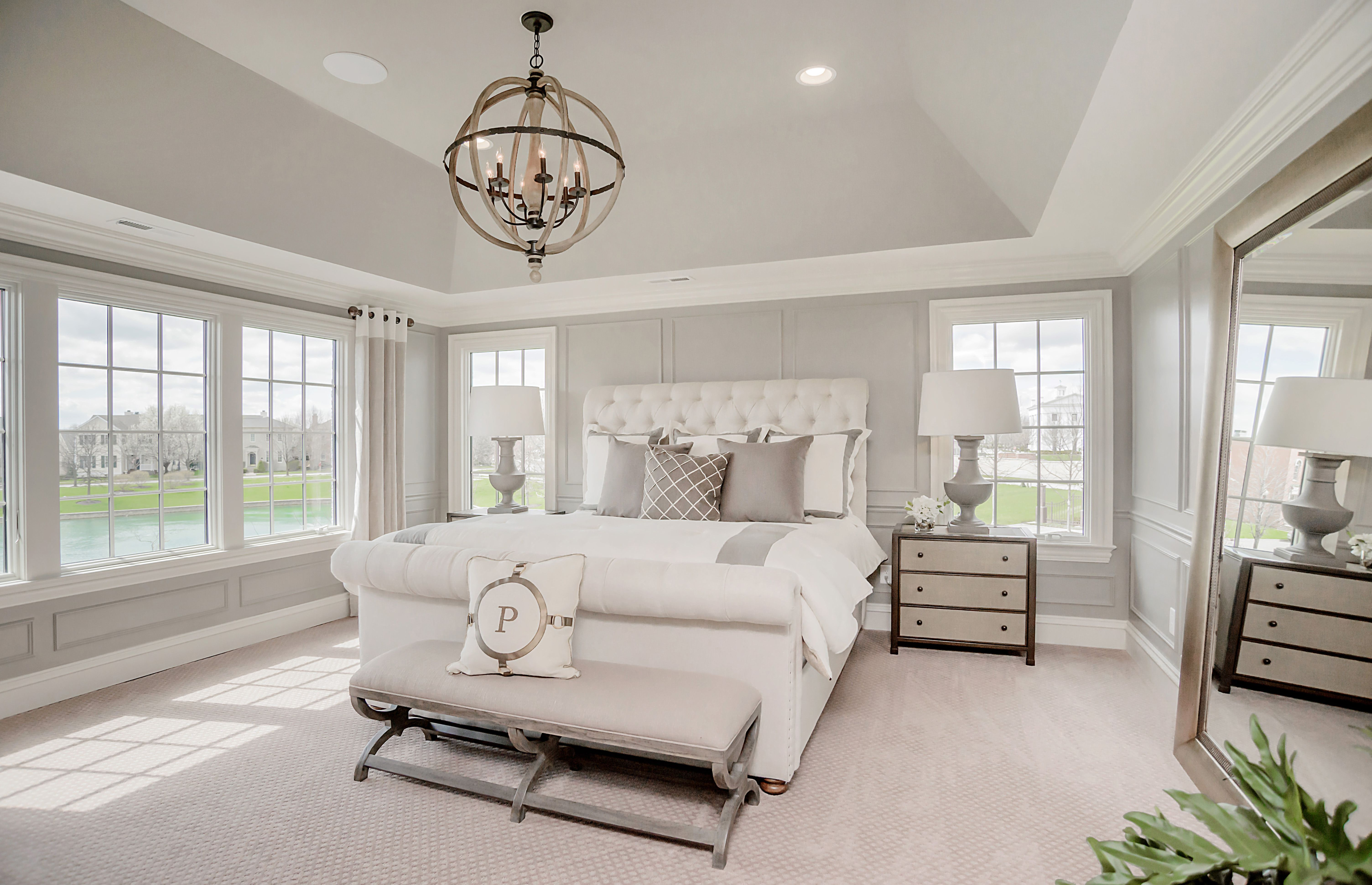 Crisp And Clean This Comfy Bedroom Is The Ideal Retreat Pulte Homes Master Bedroom Lighting Remodel Bedroom Master Bedrooms Decor